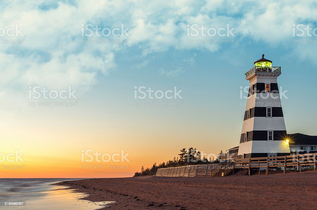 West Point Lighthouse at Sunset stock photo