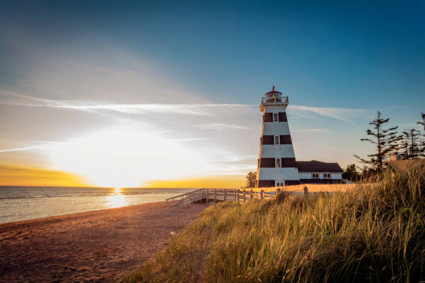 west point lighthouse - prince edward island stock photos and pictures