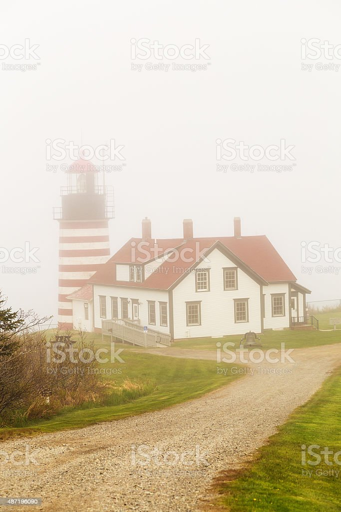 West Quoddy Head Light in Heavy Fog stock photo