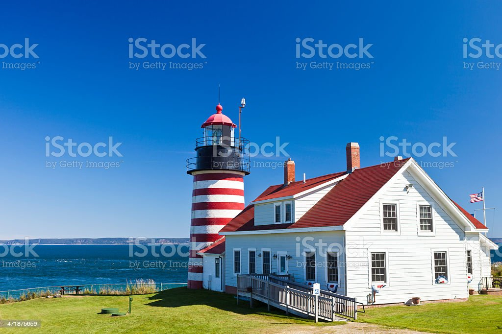 West Quoddy Head Light In Maine stock photo