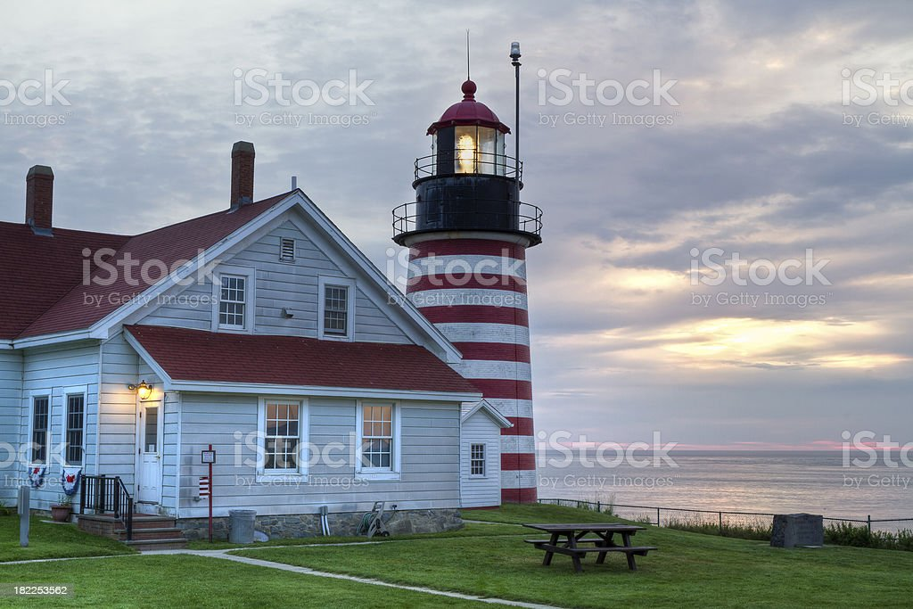 West Quoddy Head Light Sunrise HDR stock photo