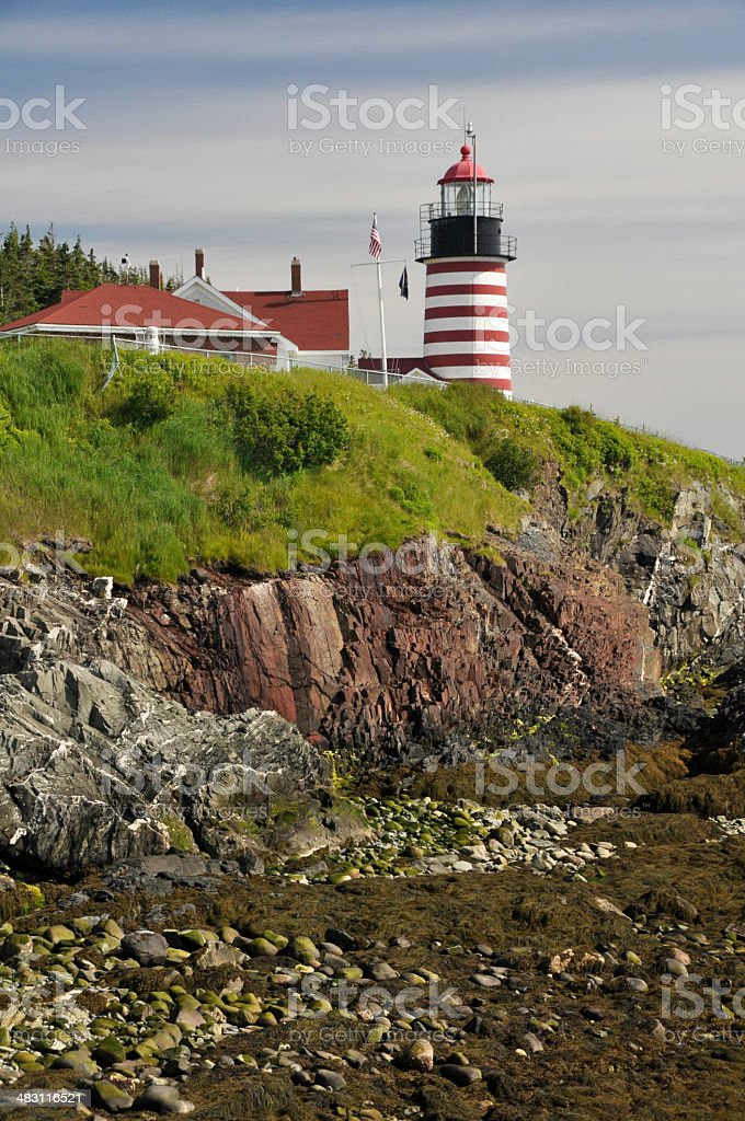 West Quoddy Head Lighthouse, Maine (USA) stock photo