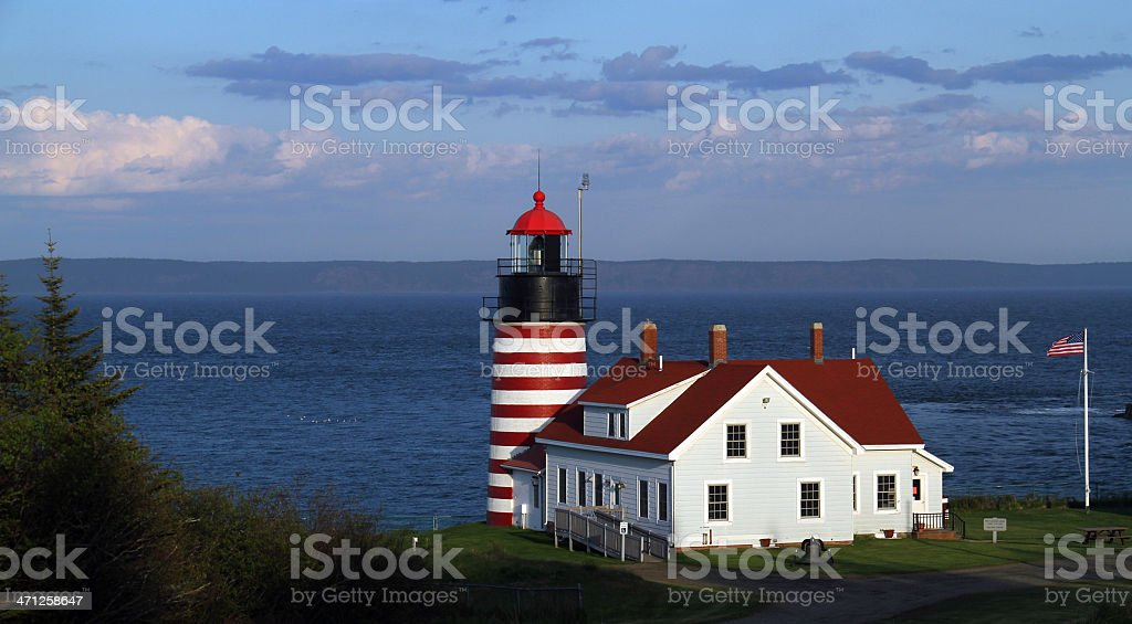West Quoddy Head Lighthouse, ME stock photo