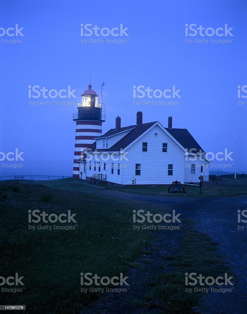 West Quoddy Lighthouse at night stock photo