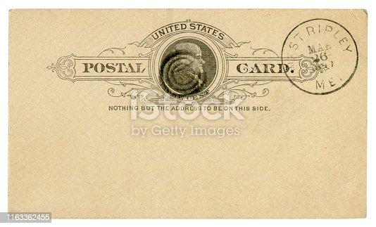 West Ripley, Maine, The USA - 26 March 1889: Blanked US historical Postal Card with black text in vignette, Imprinted One Cent Thomas Jefferson stamp, Fancy cancel