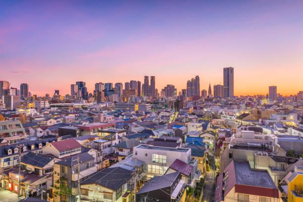 west shinjuku, tokyo, japan cityscape - shinjuku ward stock photos and pictures