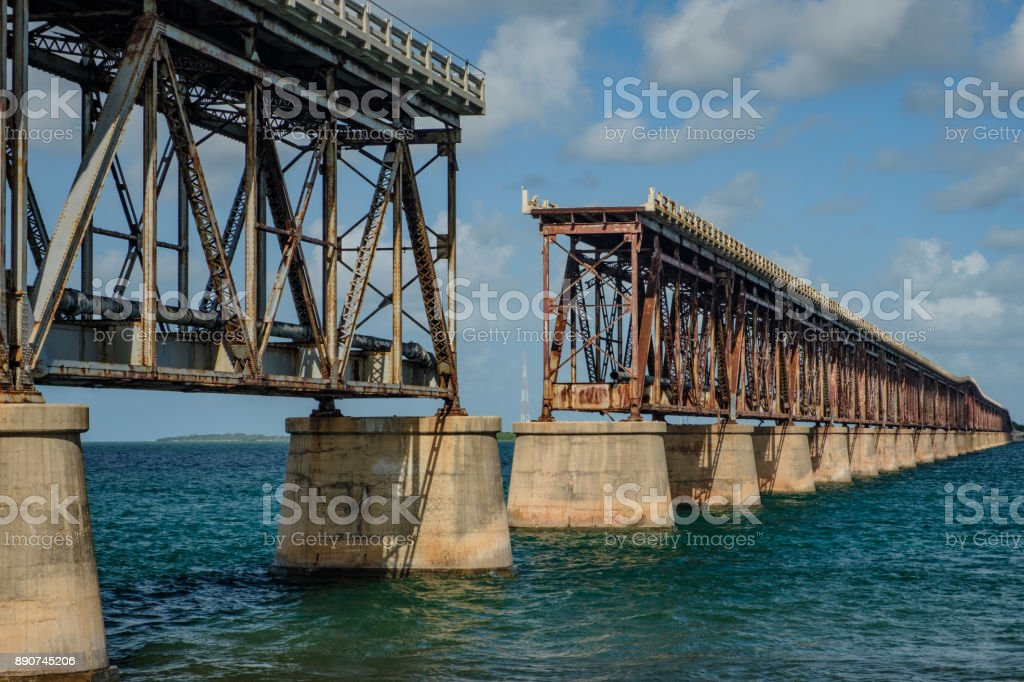 West side of the old Henry Flagler built pin-connected Truss bridge connecting Bahia Honda Key to Spanish Harbor Key in Florida stock photo