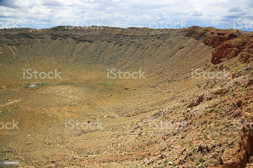 West slope of meteor crater stock photo