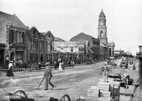West Street in Durban, South Africa. Vintage photo etching circa 19th century.