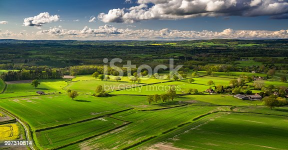 Aerial panorama of farmland around Chichester in West Sussex, England, close to the village of Cocking.