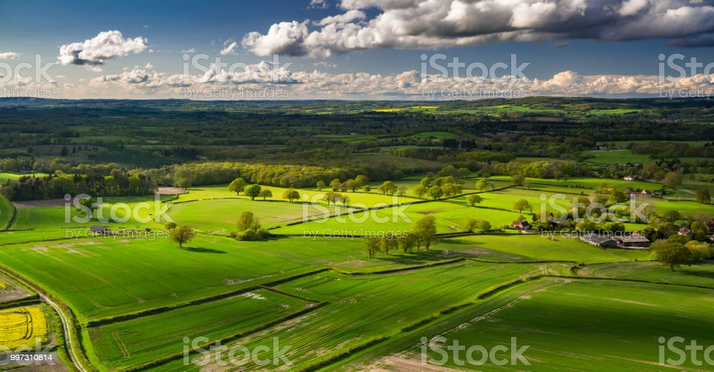 West Sussex Countryside - Aerial Panorama stock photo