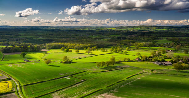 west sussex countryside - aerial panorama - halbergman stock pictures, royalty-free photos & images
