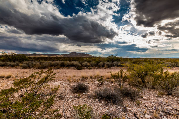 west texas landscape with cloudy sky. - wild west stock photos and pictures