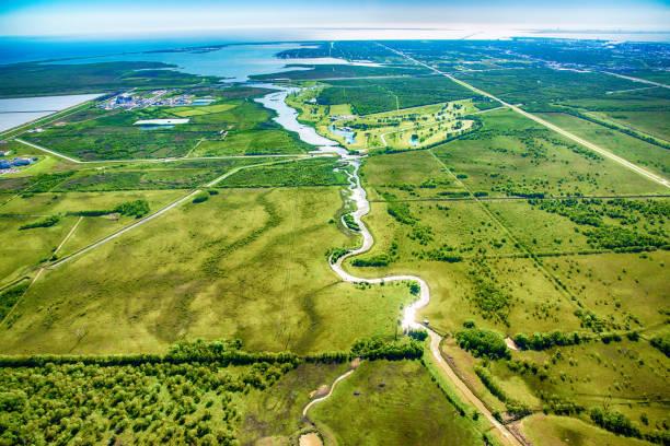 西德克薩斯鄉村景觀航空 - 陸地 個照片及圖片檔