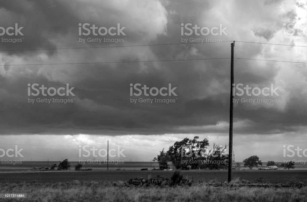 west Texas storm weather on horizon monochrome stock photo