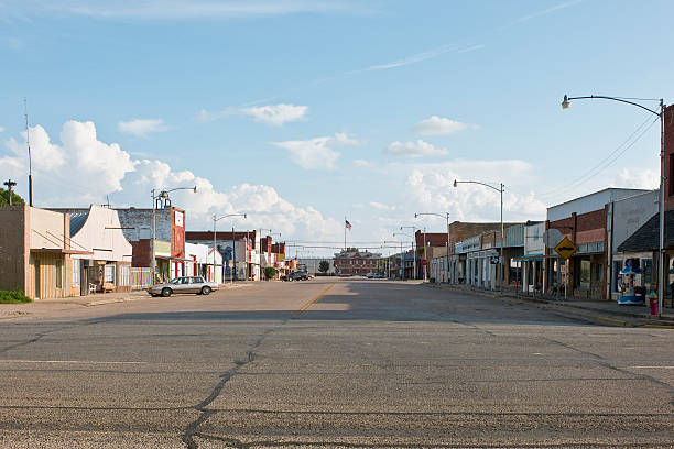 West Texas Town Evening shot of almost- empty streets of a small West Texas town. americana stock pictures, royalty-free photos & images