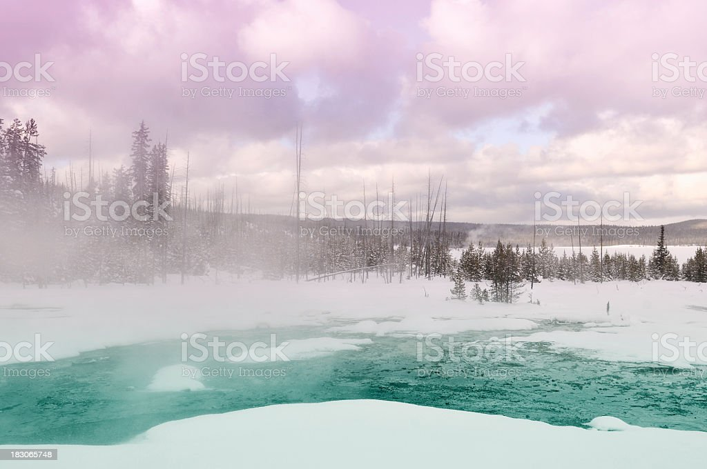 West Thumb Geyser Basin in winter, Yellowstone National Park,USA. stock photo