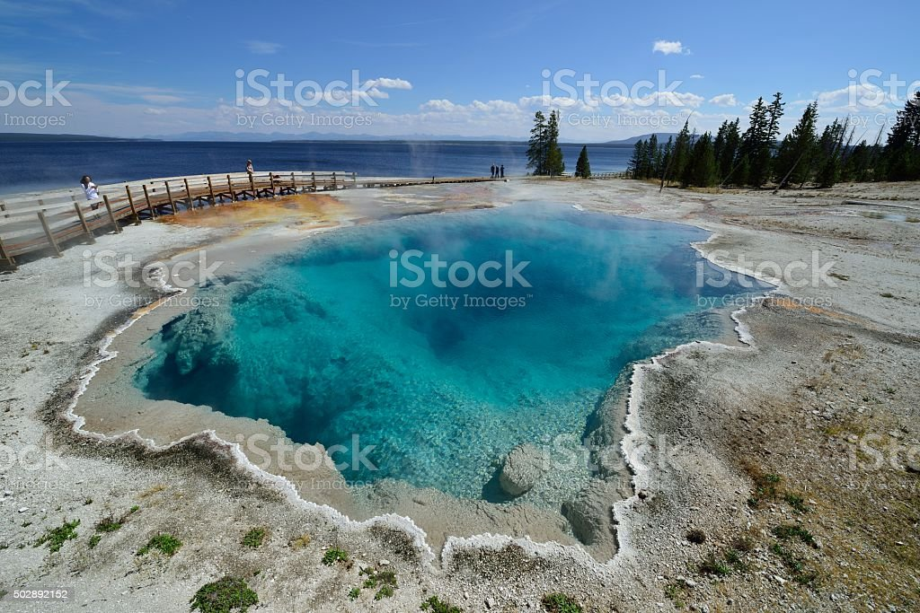 West Thumb Geyser Basin in Yellowstone National Park stock photo