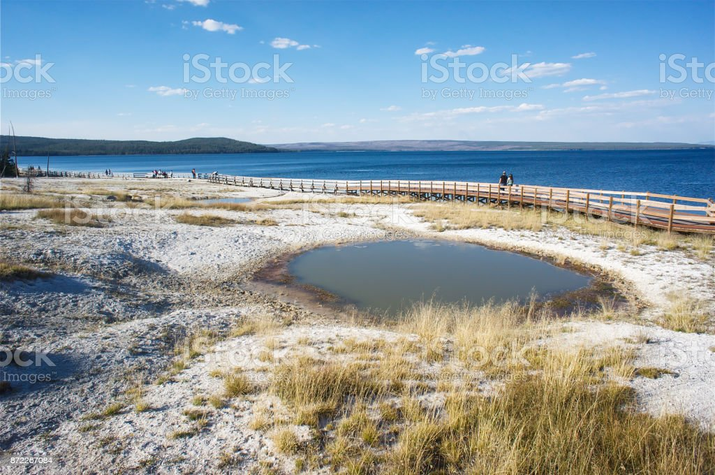 West Thumb Geyser Basin, Yellowstone National Park, USA stock photo