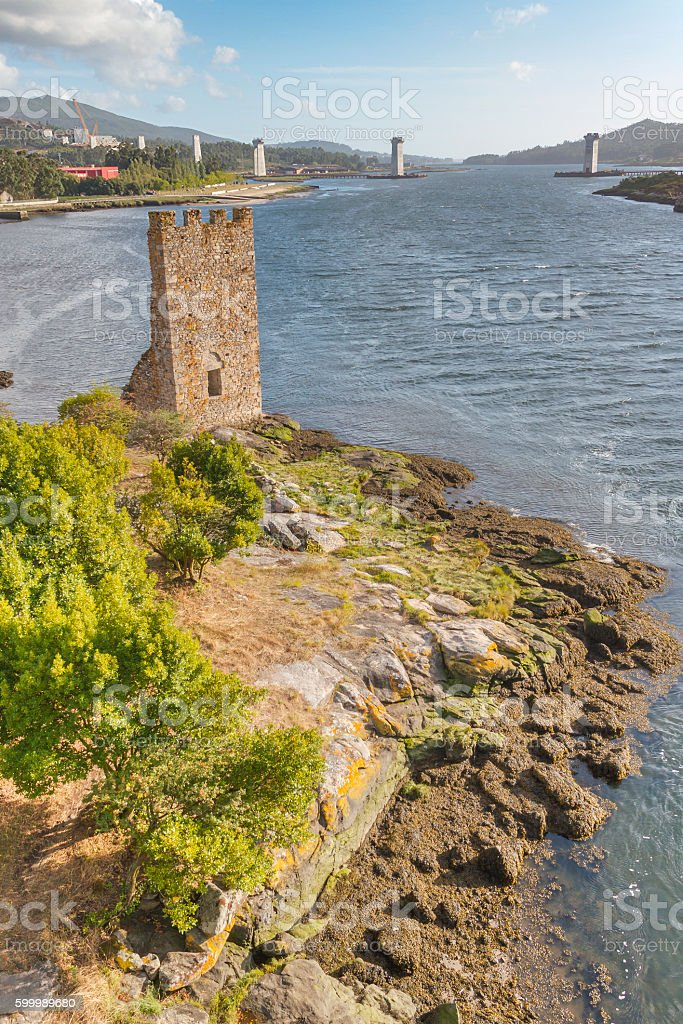 West towers in Catoira royalty-free stock photo