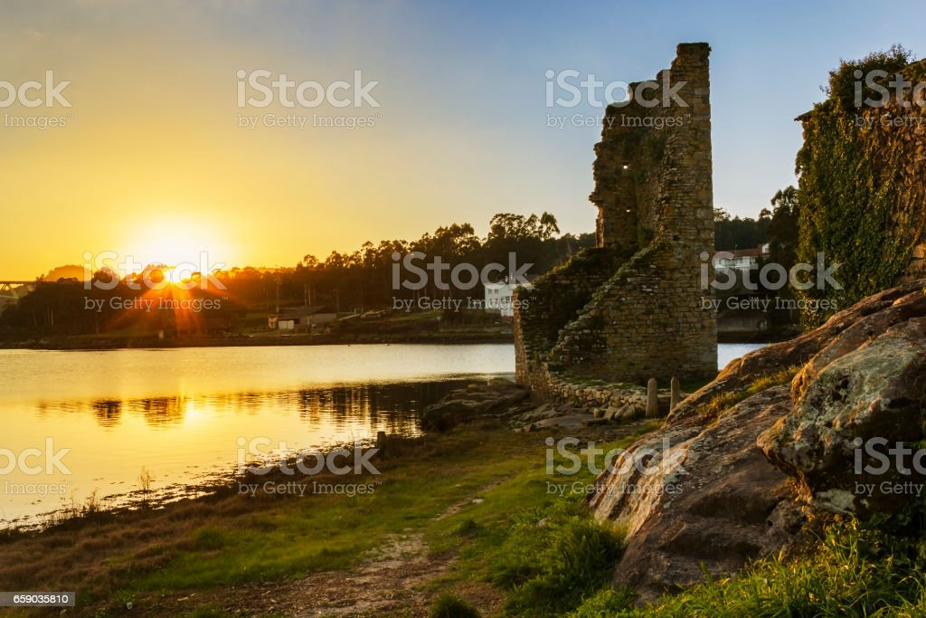 West towers ruins at sunset royalty-free stock photo
