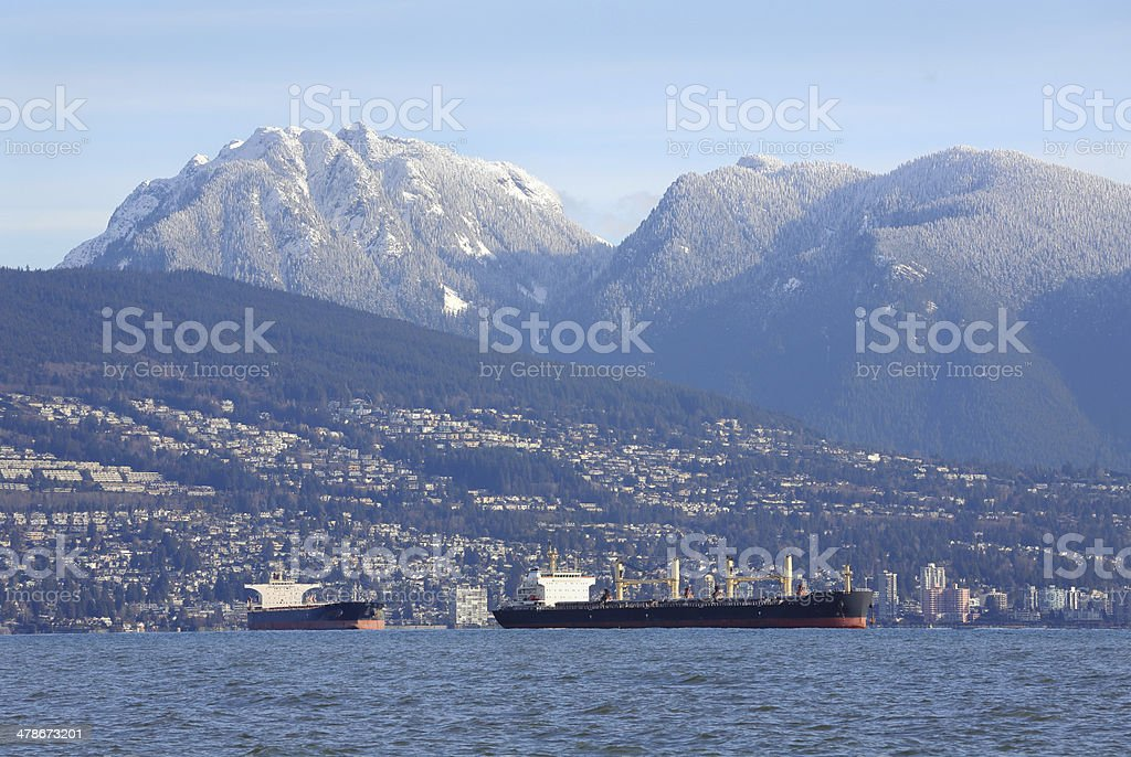 West Vancouver, Coast Mountains, Freighters stock photo