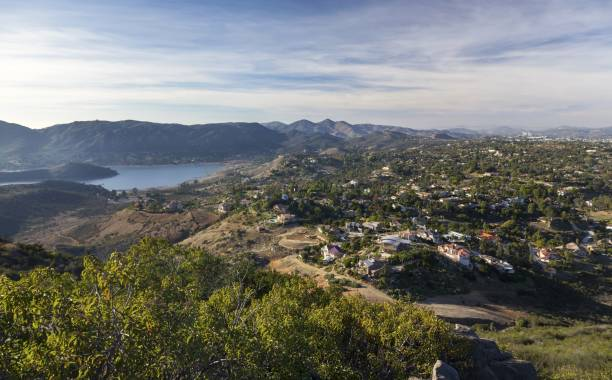 West View from Summit of Bernardo Mountain in Poway, San Diego County North stock photo