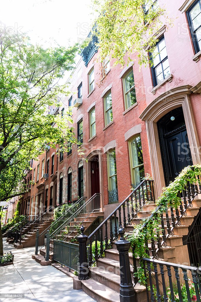West Village in New York Manhattan buildings stock photo