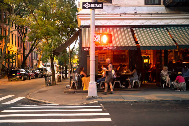 West Village NYC Restaurant Street Scene stock photo
