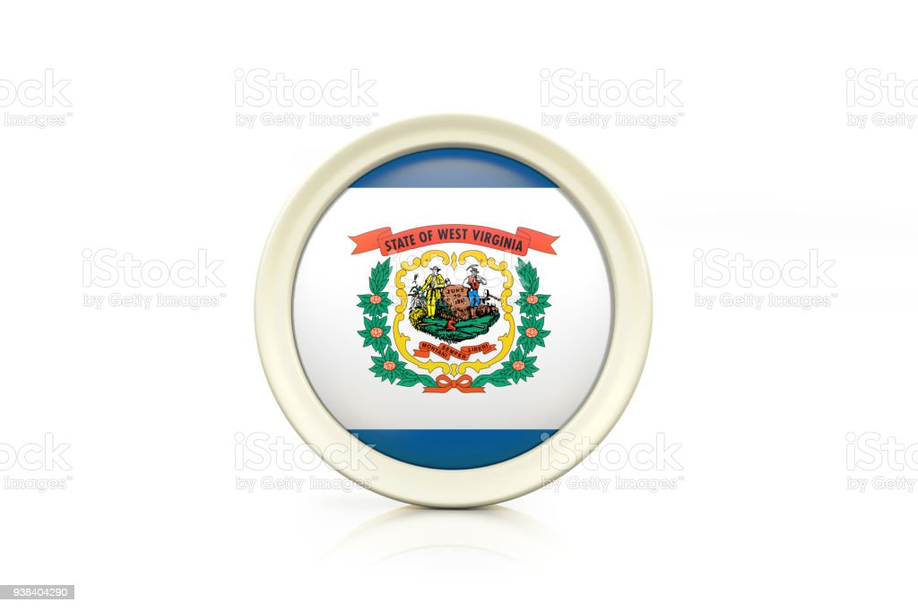 West Virginia Badge On White Background stock photo