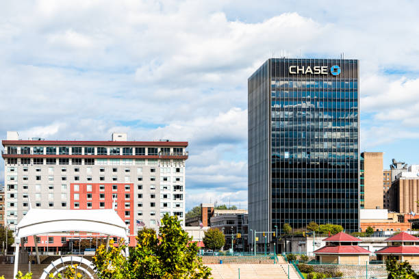 West Virginia capital city cityscape skyline with Chase bank and logo on building stock photo