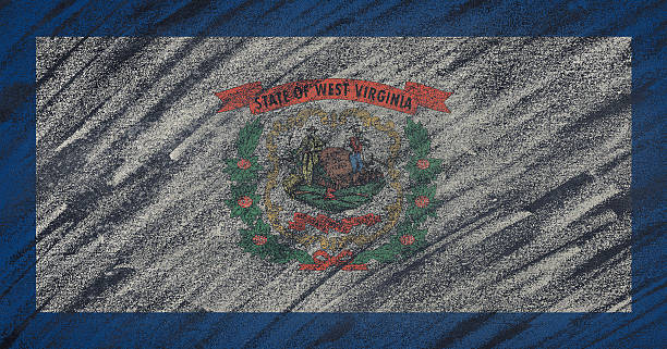 West Virginia flag painted with colored chalk on a blackboard. Close-up of national West Virginia state flag painted with colored chalk on a blackboard. 3D rendering west virginia us state stock pictures, royalty-free photos & images