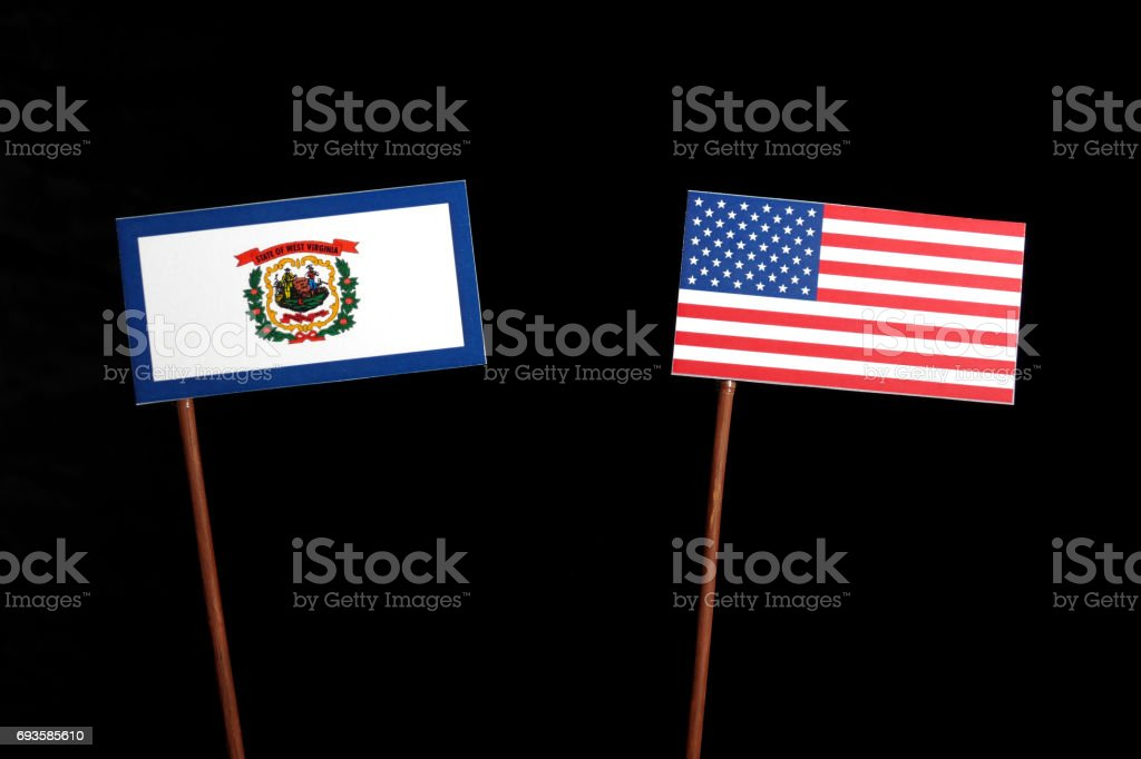 West Virginia flag with USA flag isolated on black background stock photo
