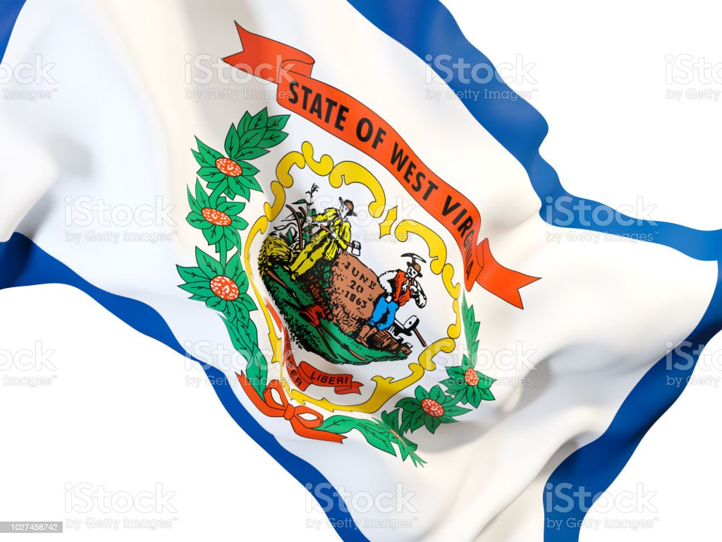 west virginia state flag close up. United states local flags stock photo
