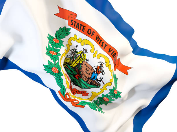 west virginia state flag close up. United states local flags west virginia state flag close up. United states local flags. 3D illustration west virginia us state stock pictures, royalty-free photos & images
