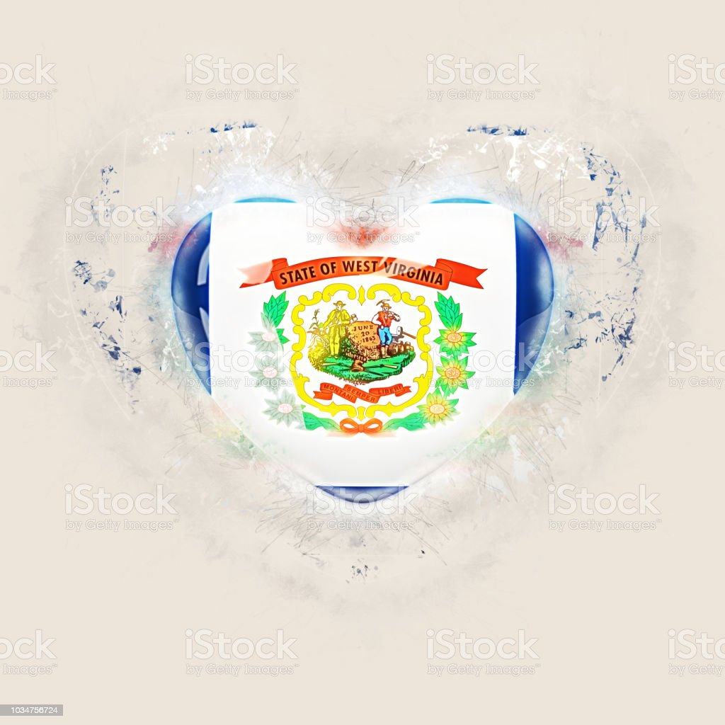 west virginia state flag on a grunge heart. United states local flags stock photo