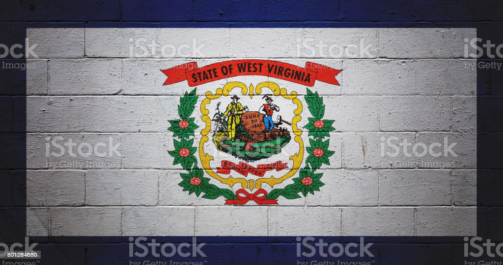 West Virginia state flag painted on a wall stock photo