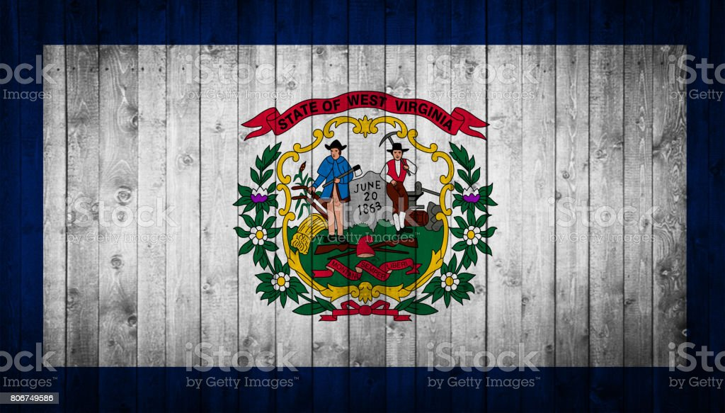 West Virginia State flag painted on a wooden surface stock photo