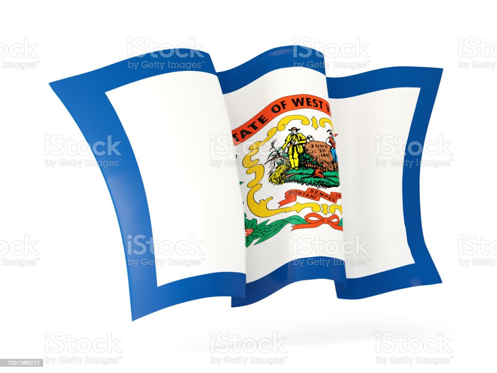 west virginia state flag waving icon close up. United states local flags stock photo