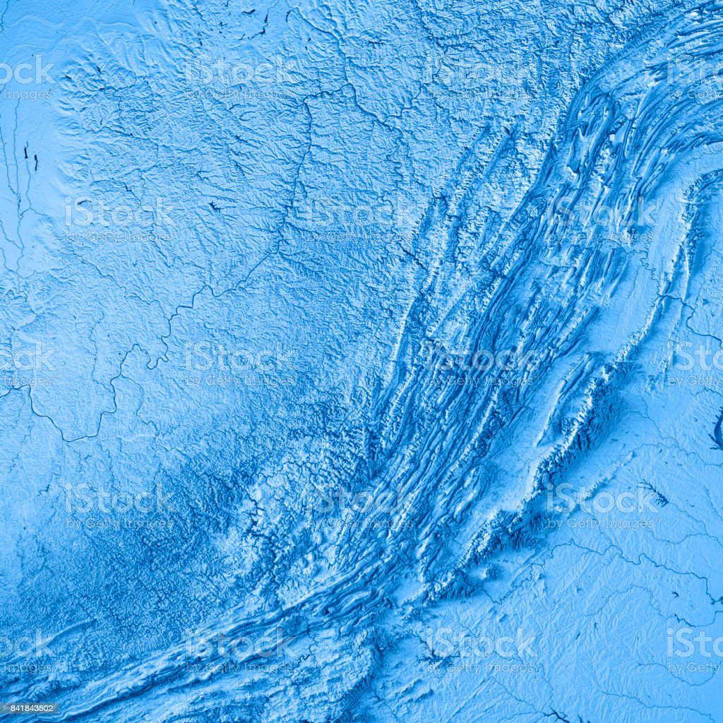 West Virginia State USA 3D Render Topographic Map Blue stock photo