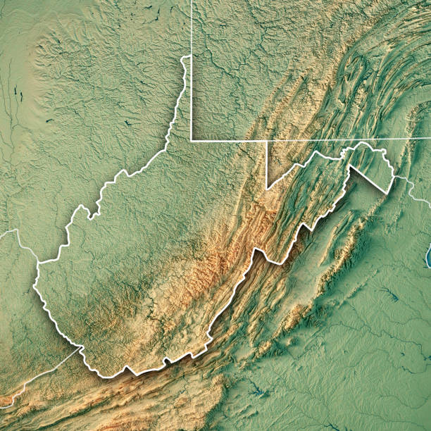 West Virginia State USA 3D Render Topographic Map Border 3D Render of a Topographic Map of the State of West Virginia, USA. All source data is in the public domain. Color texture: Made with Natural Earth.  http://www.naturalearthdata.com/downloads/10m-raster-data/10m-cross-blend-hypso/ Boundaries Level 1: USGS, National Map, National Boundary Data. https://viewer.nationalmap.gov/basic/#productSearch Relief texture and Rivers: SRTM data courtesy of USGS. URL of source image:  https://e4ftl01.cr.usgs.gov//MODV6_Dal_D/SRTM/SRTMGL1.003/2000.02.11/ Water texture: SRTM Water Body SWDB: https://dds.cr.usgs.gov/srtm/version2_1/SWBD/ west virginia us state stock pictures, royalty-free photos & images