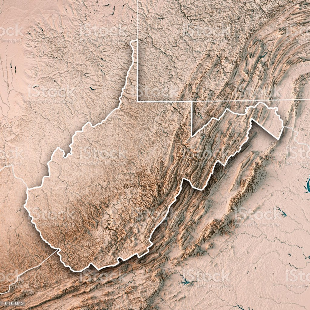 West Virginia State USA 3D Render Topographic Map Neutral Border stock photo
