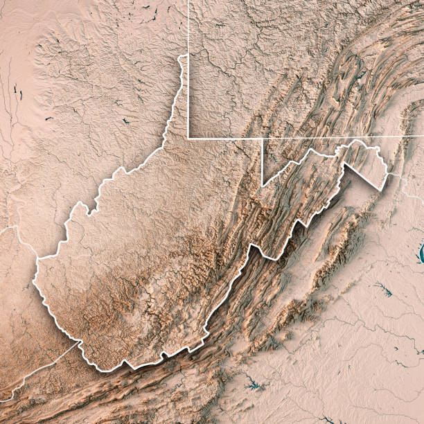 West Virginia State USA 3D Render Topographic Map Neutral Border 3D Render of a Topographic Map of the State of West Virginia, USA. All source data is in the public domain. Boundaries Level 1: USGS, National Map, National Boundary Data. https://viewer.nationalmap.gov/basic/#productSearch Relief texture and Rivers: SRTM data courtesy of USGS. URL of source image:  https://e4ftl01.cr.usgs.gov//MODV6_Dal_D/SRTM/SRTMGL1.003/2000.02.11/ Water texture: SRTM Water Body SWDB: https://dds.cr.usgs.gov/srtm/version2_1/SWBD/ west virginia us state stock pictures, royalty-free photos & images