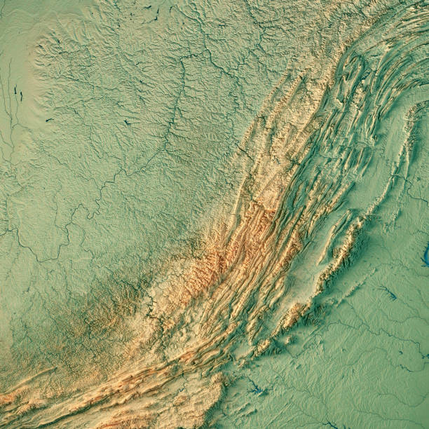 West Virginia State USA 3D Render Topographic Map 3D Render of a Topographic Map of the State of West Virginia, USA. All source data is in the public domain. Color texture: Made with Natural Earth.  http://www.naturalearthdata.com/downloads/10m-raster-data/10m-cross-blend-hypso/ Relief texture and Rivers: SRTM data courtesy of USGS. URL of source image:  https://e4ftl01.cr.usgs.gov//MODV6_Dal_D/SRTM/SRTMGL1.003/2000.02.11/ Water texture: SRTM Water Body SWDB: https://dds.cr.usgs.gov/srtm/version2_1/SWBD/ west virginia us state stock pictures, royalty-free photos & images