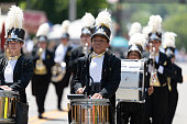 Buckhannon, West Virginia, USA - May 18, 2019: Strawberry Festival, The Diplomats Drum and Bugle Corps marching band from Windsor, Canada performing at the parade