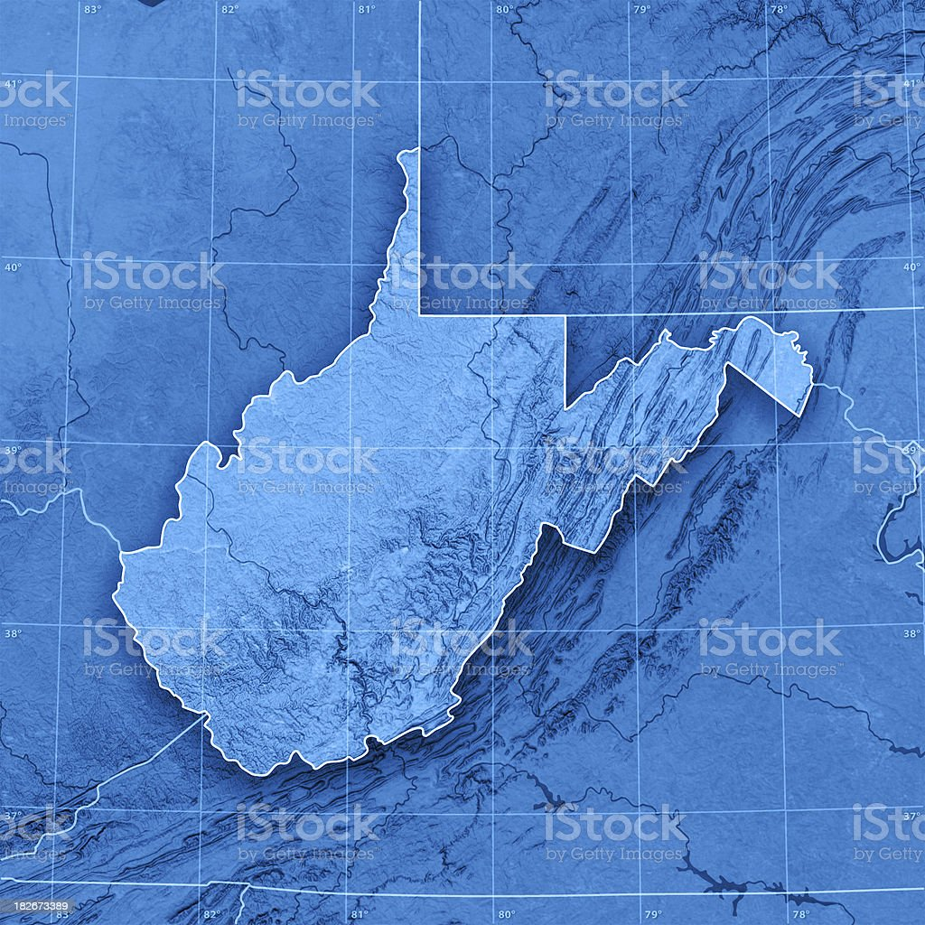 West Virginia Topographic Map royalty-free stock photo