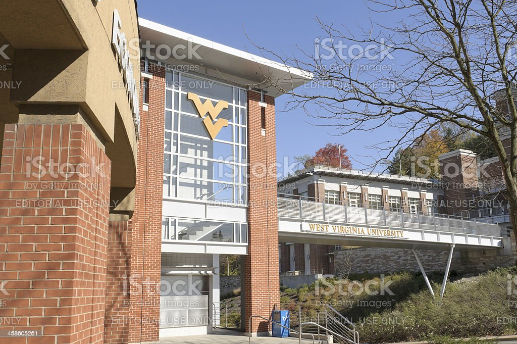West Virginia University Campus Bridge and Walkway stock photo