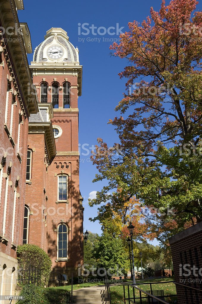 West Virginia University, clock tower stock photo