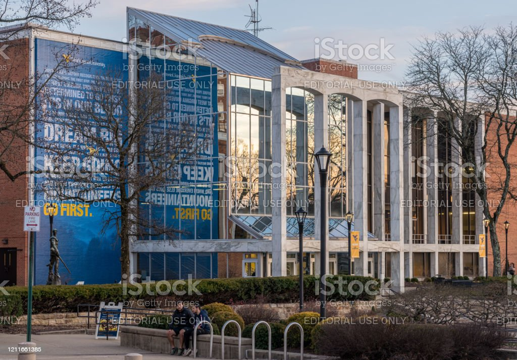 West Virginia University in Morgantown WV Morgantown, WV - 8 March 2020: Mountainlair and downtown buildings of campus of West Virginia University in Morgantown, West Virginia Building Exterior Stock Photo
