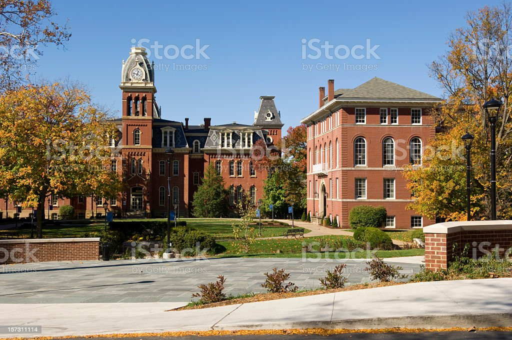 West Virginia university main campus entrance stock photo